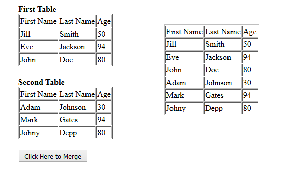 merge tables using jquery